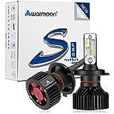 【Warmoon】 H4hi/lo LEDヘッドライト車用 車検対応高速放熱ヒートシンク一体型 高品質PHILIPS Lumileds LUXEON ZES CHIP搭載 一体型8000LM(8000LMx2)6500Kホワイト ファンレス2個セット