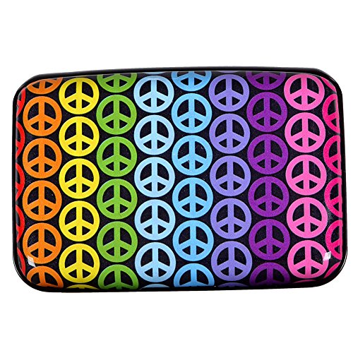Aluminum Wallet RFID Blocking Metal Credit Card Holder Slim Hard Case (Rainbow peace ()
