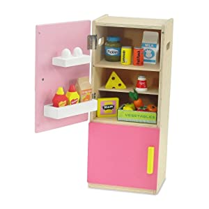 Emily Rose Doll Clothes 18 inch Doll Furniture | Brightly Colored Wooden Refrigerator with Freezer, Includes 20 Colorful Wooden Pretend Food Accessories | Fits American Girl Dolls