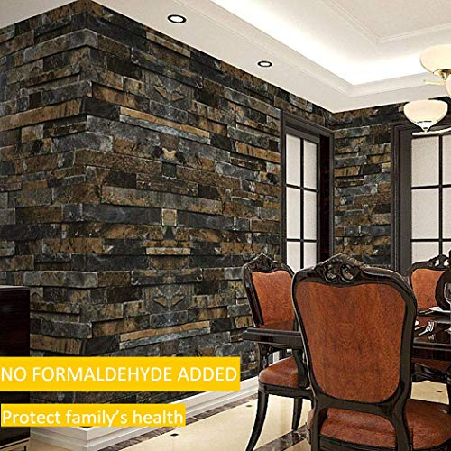 Stack Effects - 3D Effect Embossed Stack Brick Wallpaper Stone Textured Print Wall Paper for Home Room Decoration (Blue)