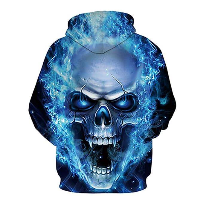 Sudaderas para Hombres, Ropa Sanitaria 3-D, Esqueleto Fantasma-Fuego para Hombres y Mujeres, Ropa Deportiva Alternativa Ropa Deportiva de Manga Larga con ...