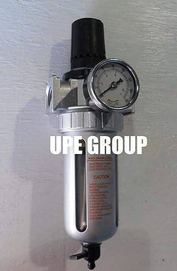 Particulate Filter Moisture Water Trap Compressed Air with Auto Drain 1//2 Pressure Regulator