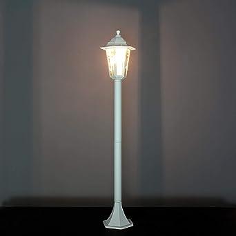 Lámpara de jardín rústica lámpara de camino blanca E27 IP44 lámpara de pie para exterior lámpara de pie lámpara de patio terraza: Amazon.es: Iluminación