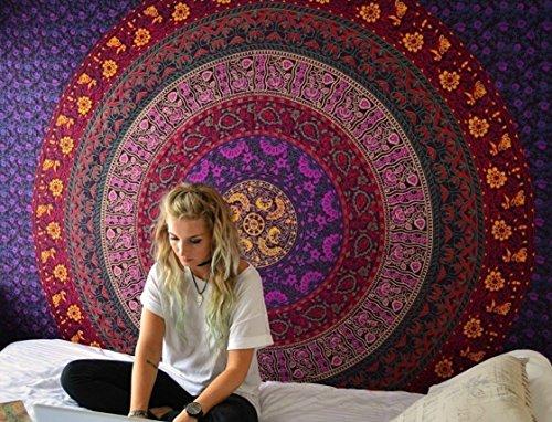 Jaipur Art - Purple Hippie Mandala Tapestry Wall hanging Hippie Tapestry Bohemian Tapestries Psychedelic Tapestry Blanket Bedding Bedspread Dorm Tapestry Bedding Dorm Decor by Jaipur Handloom