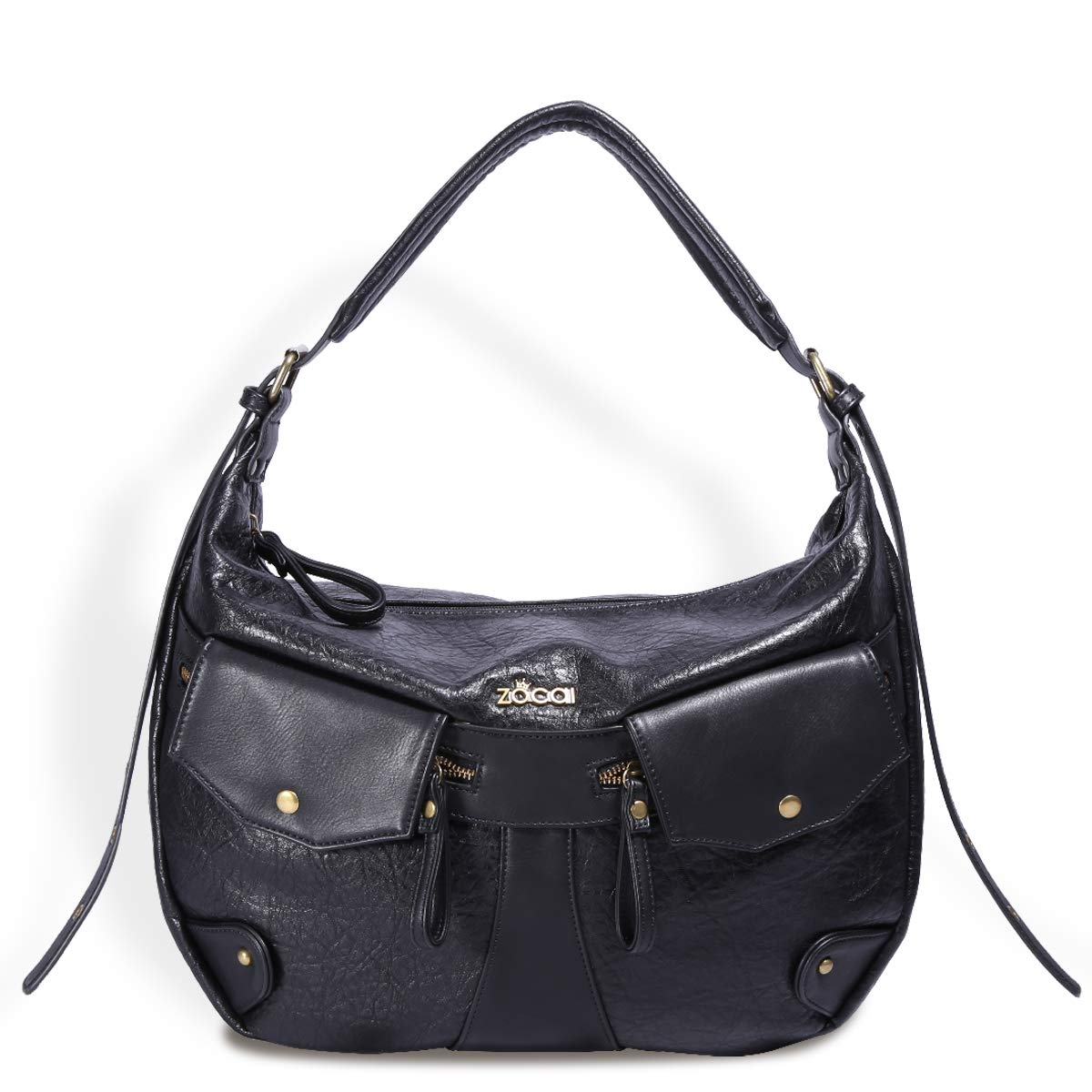 Black ZOCAI Vintage Hobo Handbag for Women Soft Leather Shoulder Bag Casual Crossbody Handbag Purse