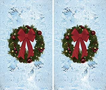 wowindow posters twin christmas wreaths window decoration two 345x60backlit posters