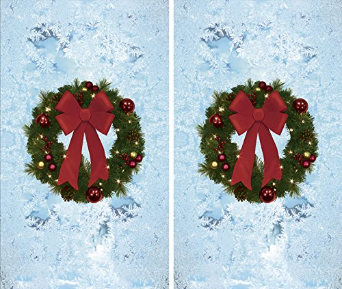 WOWindow Posters Twin Christmas Wreaths Window Decoration Two 34.5