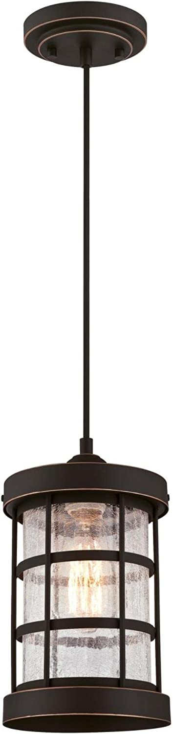 Westinghouse Lighting 6361500 Barkley One-Light Mini Finish with Highlights and Clear Crackle Glass Indoor Pendant, Oil Rubbed Bronze HI