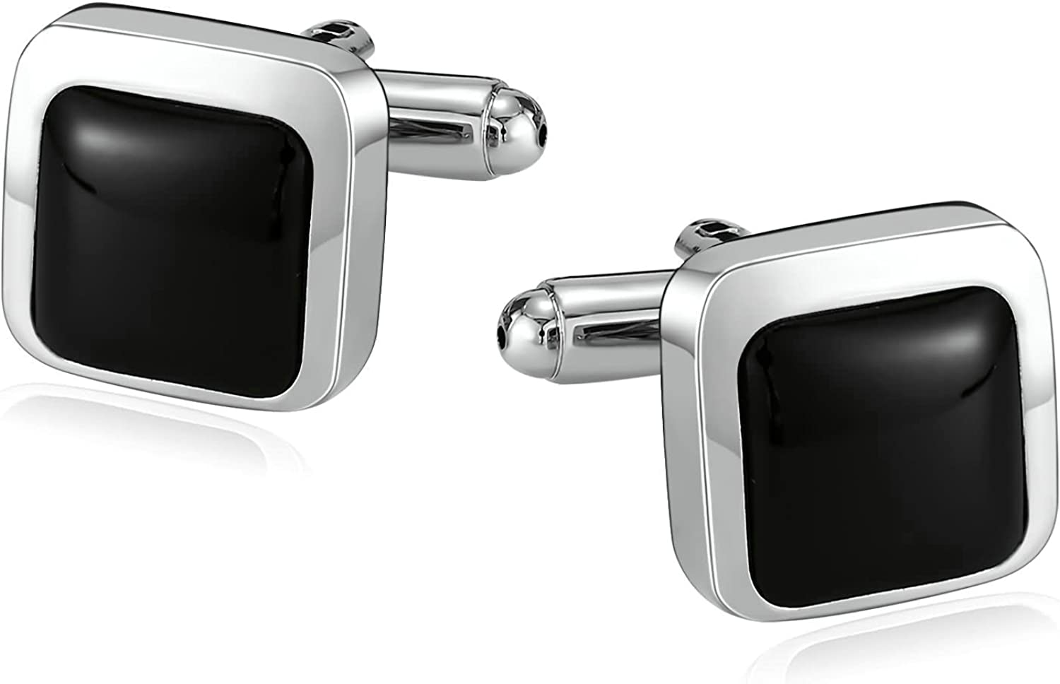 Adisaer Stainless Steel Cuff Links Mens Silver Square Stripe Mens Dress Cufflink Business Wedding Gift