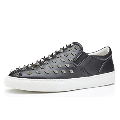 Men's Loefars&Slip-on Fashion Sneakers Genuine Leather With Rivets