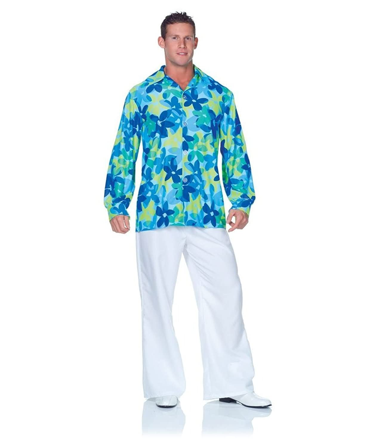 60s -70s  Men's Costumes : Hippie, Disco, Beatles Underwraps Mens 60s Flowers Shirt  AT vintagedancer.com