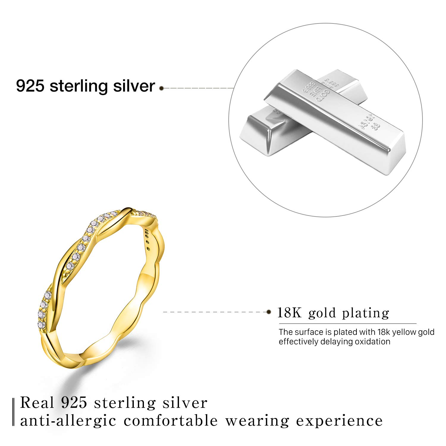 Esberry 18K Gold Plating 925 Sterling Silver Twist Ring Band Cubic Zirconia Stackable Rings CZ Simulated Diamond Eternity Bands Engagement Wedding Bands for Women