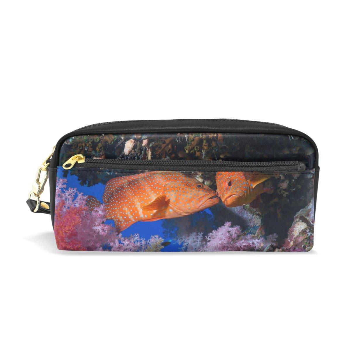 BENNIGIRY Fische Coral Sea Ocean Bleistift Fall tragbar Pen Tasche Student Schreibwaren Pouch PU Leder Groß Kapazität Reißverschluss Make-up Kosmetiktasche B079NQC28F     | eine breite Palette von Produkten