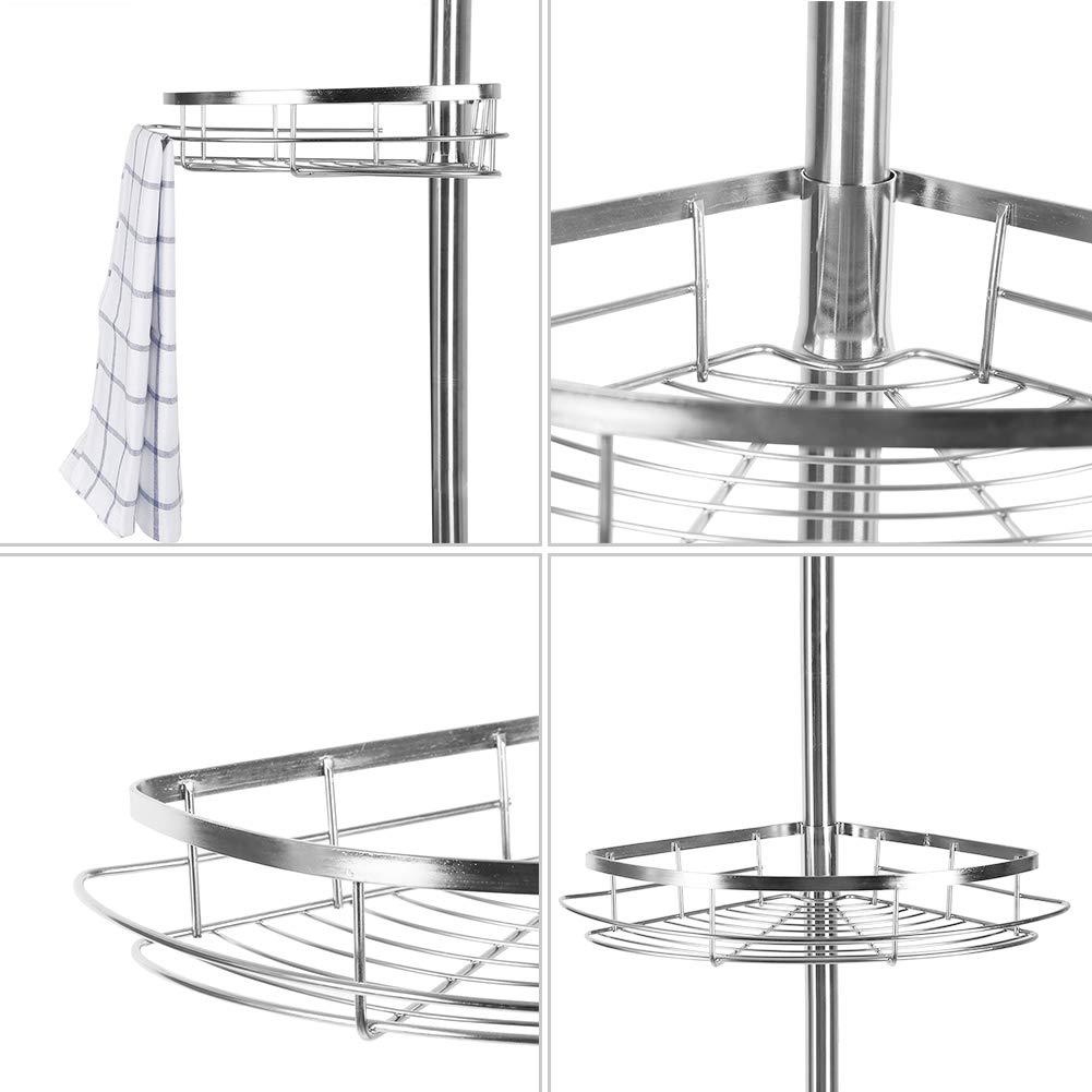 Argento POPSPARK Mensola telescopica per Doccia in Acciaio Inox Regolabile Regolabile in Altezza per Bagno 3 Ripiani