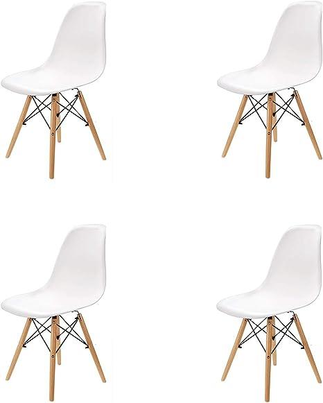 N / A Pack 4/6 sillas, sillas de Comedor Silla de Oficina Silla de salón, Silla diseño nórdico Estilo (Blanco-4): Amazon.es: Hogar
