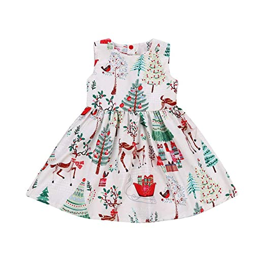 ff4c7f3ed5 Image Unavailable. Image not available for. Color: Toddler Baby Girl  Christmas Dress Floral Cartoon Deer Xmas Tree Sleeveless Party ...