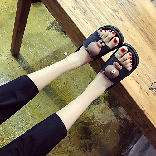 Soft Skid Multi Summer Skid Anti Black Fashion women People Lazy Cool Female Flat Home Slippers With slippers Indoor Love Bottom wOUFqZB