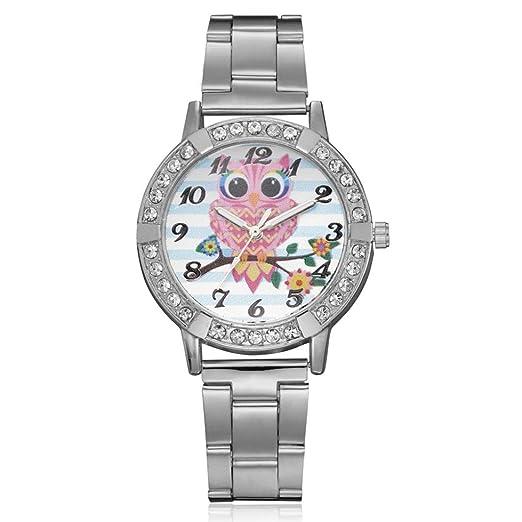 Niña Reloj de pulsera, huihong Bonito búho Imprimir Rose Oro Chapado en oro reloj de pulsera mujeres elegante strass Mode Reloj para mujeres regalo regalo ...