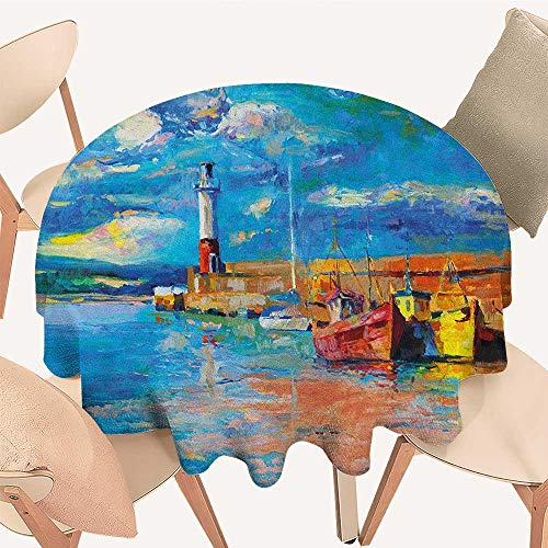Art Picnic Cloth Oil Painting Tones Style Lighthouse and Boats on Sea Shore Town Coastal Charm Picture Round Tablecloth D 60