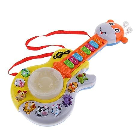 B Blesiya Juguete de Guitarra Electrónica con Números Sonido de Animales Letras Juego para Aprendizaje Preescolar