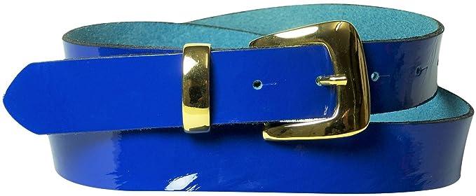 cefbfcc02d4f Fronhofer Ceinture laquée à boucle dorée, passant doré 3 cm de large, ceinture  laquée