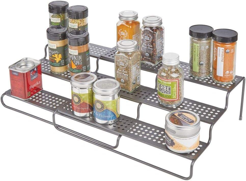 mDesign Adjustable, Expandable Kitchen Wire Metal Storage Cabinet, Cupboard, Food Pantry, Shelf Organizer Spice Bottle Rack Holder - 3 Level Storage - Up to 25