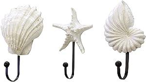 Sea Shell Wall Hook Hangers, Vintage Seashell Coat Hook Hanger, 3pcs/Set Resin Hanger Decorative Hooks, Coastal Theme Beach House Decor