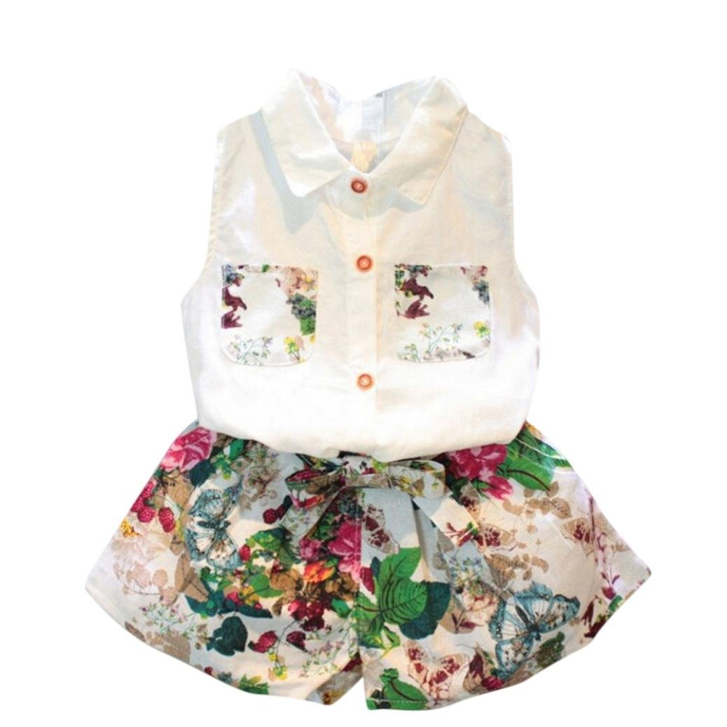 ❥Elecenty Bekleidungssets Prinzessin Mädchen kleidung Outfit Set T-Shirt Hemd Tops+Blumenmuster Shorts kurze Hose Sommer-Outfit Kleidung Tracksuit Kapuzenpullover Hoodie Pullover