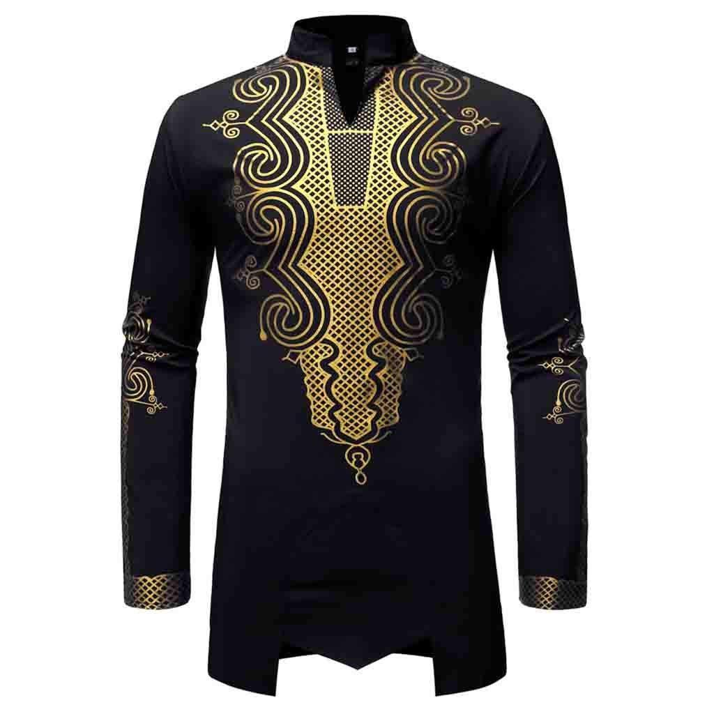 MODOQO Mens Dashiki African Shirt Long Sleeve Slim Fit Printed Medium Length Shirt(Black,CN-S/US-2XS) by MODOQO