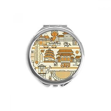 Amazon.com: Hong Kong Local Style Visiting China Mirror Round Portable Hand Pocket Makeup: Beauty