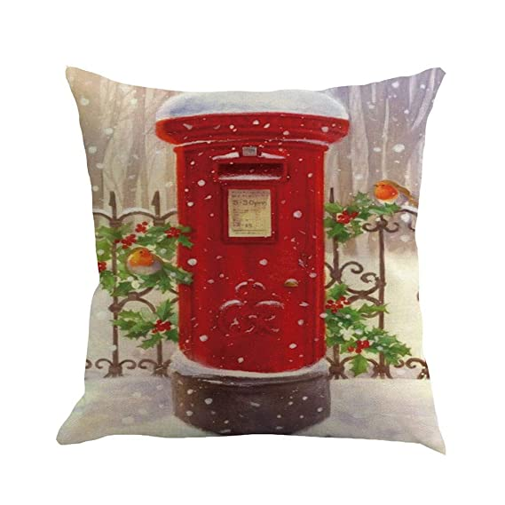ZGstore Christmas Throw Pillow Cover 18 x 18 Stockings Bird Truck with Tree Cushion Case Square Pillowcase Decoration Living Room Couch Home Sofa ...