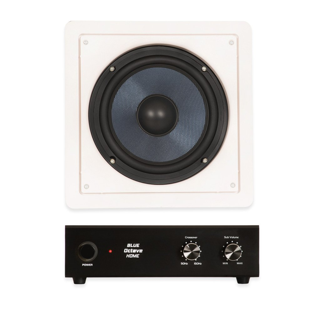 Blue Octave BDW8 In Wall 8'' Passive Subwoofer Speaker and Amplifier Home Theater