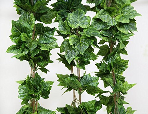 - Artificial Ivy Grape Leaves Vine Foliage Simulation flowers vine grape leaves plants for Home room Garden Garland outside decoration - 8.5 Ft, 10pcs by FatColo