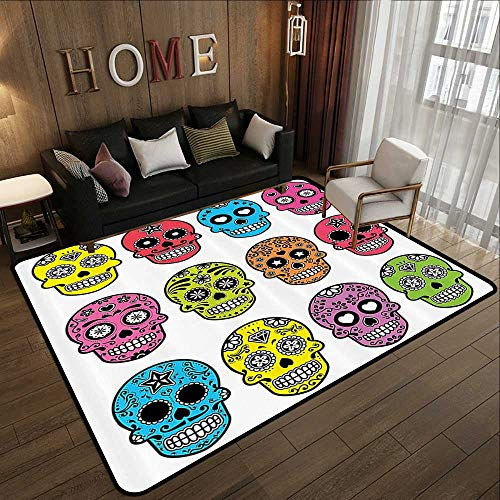 Outdoor Rugs for patios,Skulls Decorations Collection,Ornate Colorful Traditional Mexian Halloween Skull Icons Dead Humor Folk Art Print,Multi 78.7