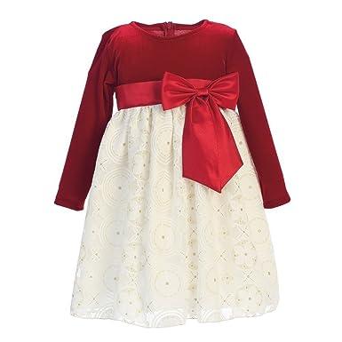 640c56727ff2 Lito Little Girls Red Ivory Velvet Glitter Embossed Lace Christmas Dress 2T