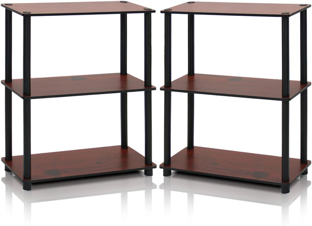 Furinno Turn-N-Tube Compact Shelf Display Rack Dark Cherry/Black/3-Tier/Set of 2