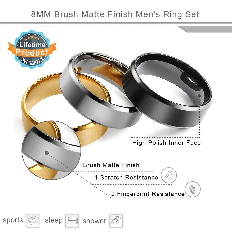 FIBO STEEL 8MM Stainless Steel Rings for Men Promise Wedding Band