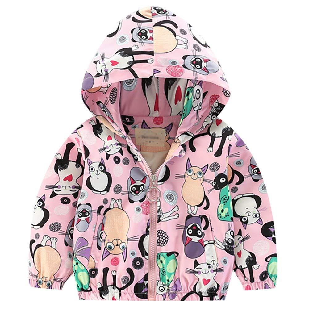 Baby Toddler Girls Spring Autumn Hoodie Jacket Long Sleeve Zipper Super Cute Printed Windbreaker Coat Outfit