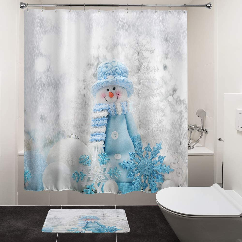 "HIYOO Christmas Happy Snowman Shower Curtain Sets, Xmas New Year Home Decorations Winter Bathroom Decor Waterproof Polyester Fabric Shower Curtain with Hooks - Blue Clothes Snowman 60"" W x 72"" L"