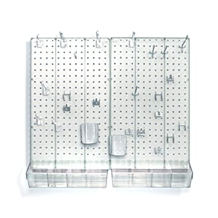 Azar 900945-CLR Pegboard Room Organizer, Clear Frosted Pegboard