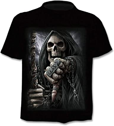 Camiseta Hombre Calavera - gótico - Manga Corta - Divertido - Camisa - Metal - Biker - niño - Rock - Punk - Oscuro - Jefe - Disfraz - Halloween - ...