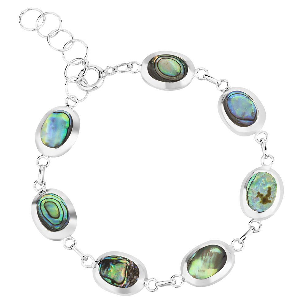 925 Sterling Silver Reversible Abalone Shell or Mother of Pearl Wrap Bracelet, Expandable 6.5-7.5''