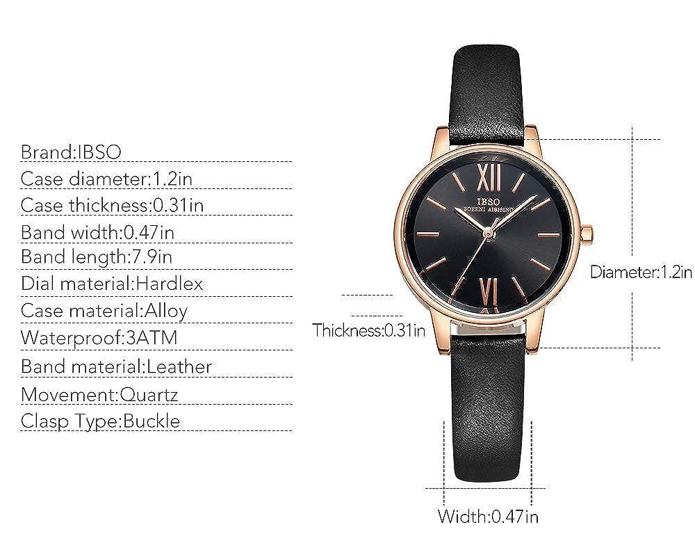 Amazon.com: IBSO Women Three-Hand Leather Quartz Analog Roman Numeral Watch Waterproof Unique Fashion Design Wristwatch (8662 Black): Watches