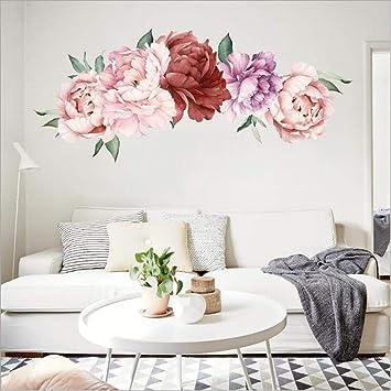 Extraíble Peonía Rosa Flor Adhesivo Pared Arte Decoración Infantil Niños Habitación Calcomanía De Regalo