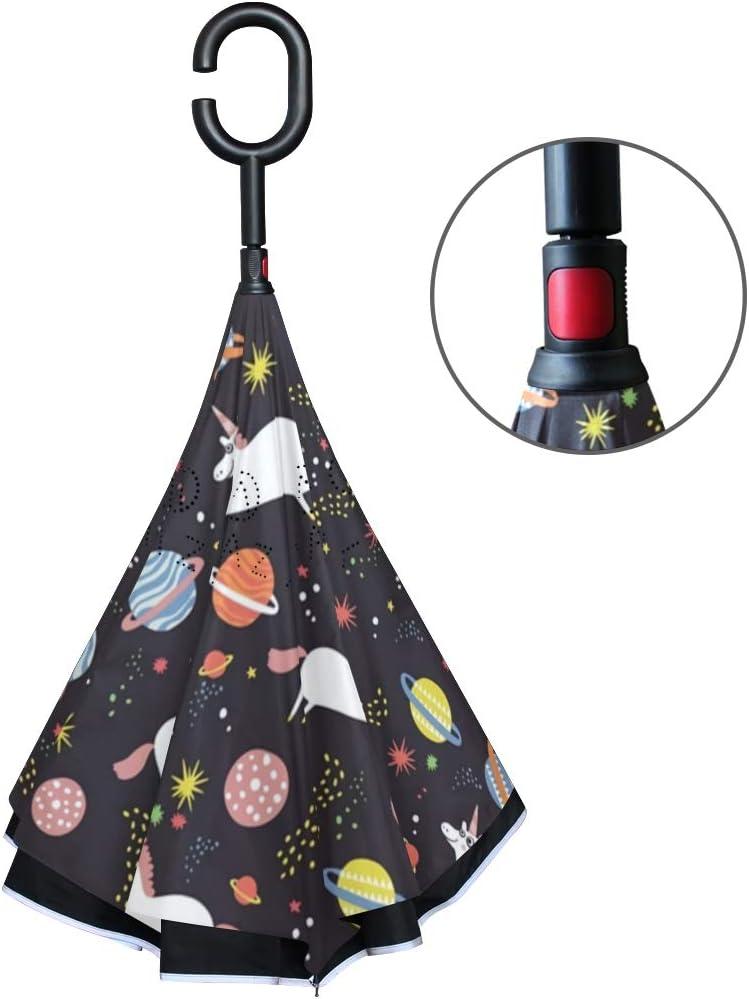 Reverse Folding Umbrella for Car Double Layer Inverted Umbrellas with Cool Universe Unicorns Pride Print