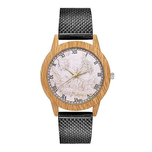 BBestseller Relojes Pulsera Mujer,Impermeable Correa de Silicona de Grano de Madera de Imitación Redondo Clásico Relojes (Negro): Amazon.es: Relojes