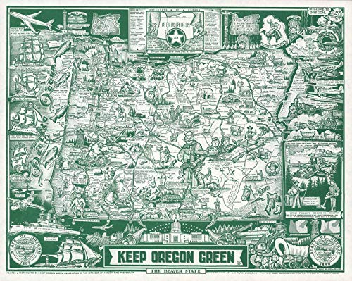 Pictorial Map - Historical 1967 Hayes Pictorial Map of Oregon |16 x 20 Fine Art Print | Antique Vintage Map
