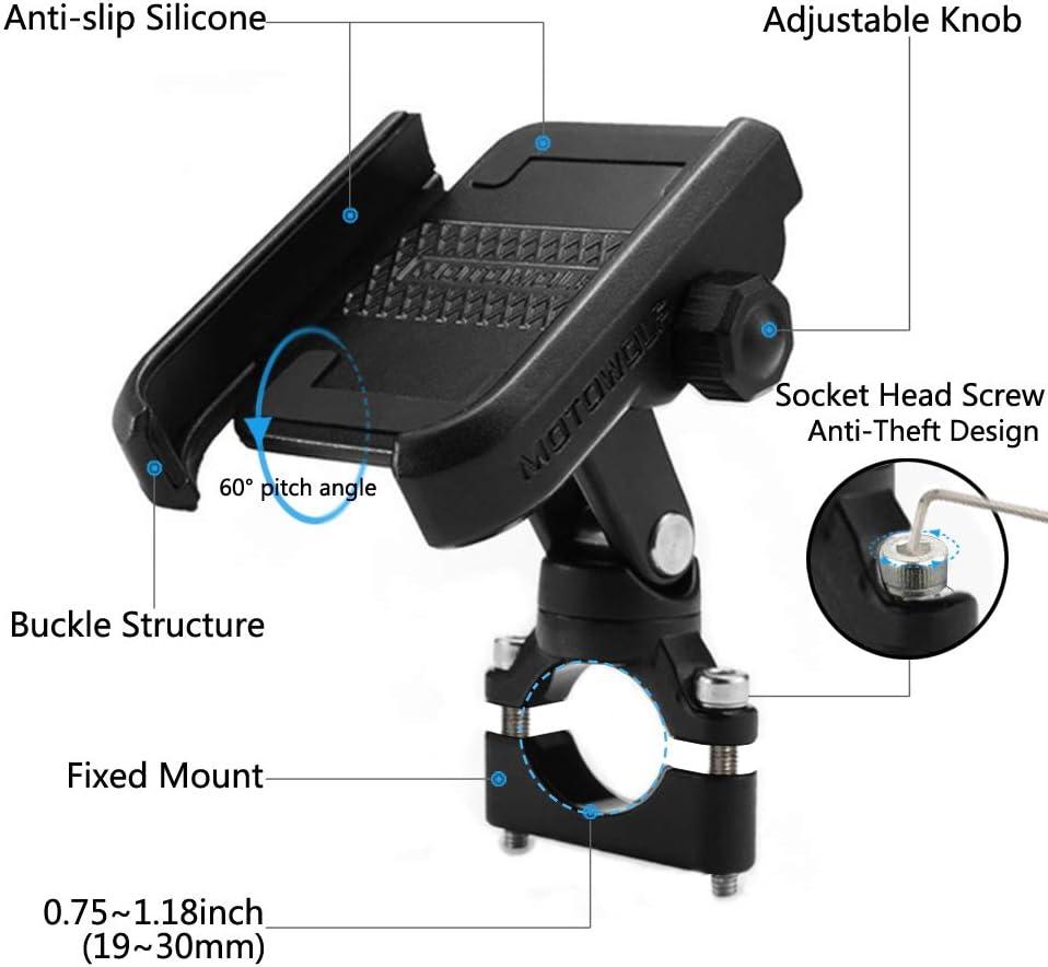 Schwarz 360 Grad-drehbares Universal Metall Motorrad Handy-Halter f/ür 3,5bis 6,5 Telefone und GPS Fahrrad Handyhalterung