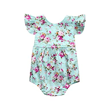 47e1ef471b69 DMZing Newborn Infant Floral Ruffles Short Sleeve Romper Jumpsuit Baby  Girls Sunsuit Outfits Clothes (0