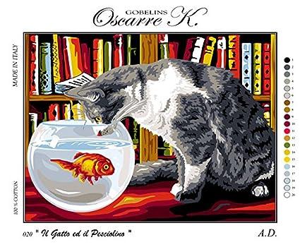 Krainer Kit para Bordar Cañamazo Estampado para Medio Punto Gato con pecera 50x38 Cod K20